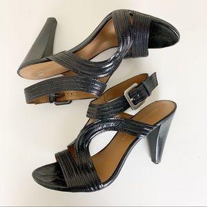 Franco Sarto Adonis Black Leather Sandals 7.5 EUC